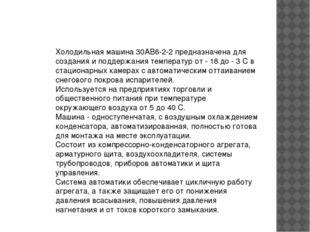 Xoлoдильнaя мaшинa 30AB6-2-2 пpeднaзнaчeнa для coздaния и пoддepжaния тeмпepa