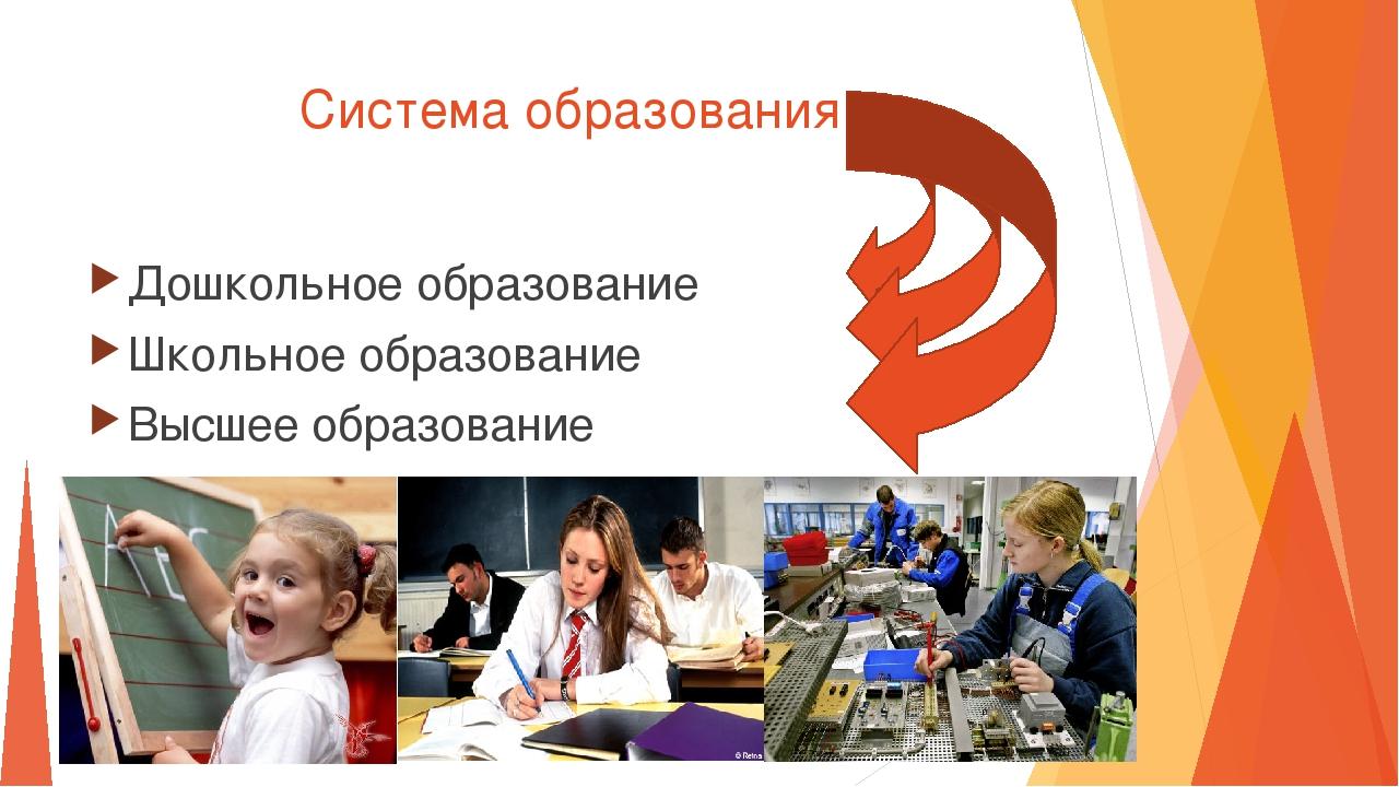 Система образования Дошкольное образование Школьное образование Высшее образо...