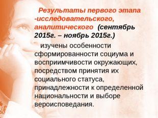 Результаты первого этапа -исследовательского, аналитического (сентябрь 2015г
