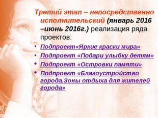 Третий этап – непосредственно исполнительский (январь 2016 –июнь 2016г.) реал