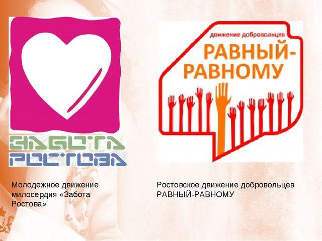 Молодежное движение милосердия «Забота Ростова» Ростовское движение добровол...