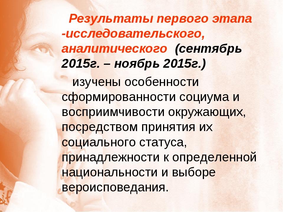 Результаты первого этапа -исследовательского, аналитического (сентябрь 2015г...