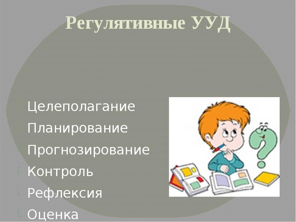 Регулятивные УУД Целеполагание Планирование Прогнозирование Контроль Рефлекси...