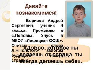 Давайте познакомимся! Борисов Андрей Сергеевич, ученик 4 класса. Проживаю в