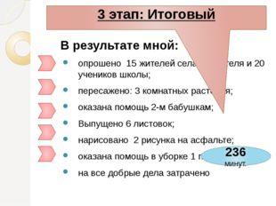 В результате мной: опрошено 15 жителей села, 4 учителя и 20 учеников школы; п