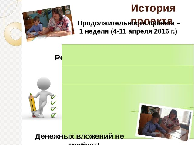 История проекта Продолжительность проекта – 1 неделя (4-11 апреля 2016 г.) Р...