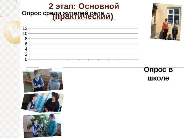 Опрос среди жителей села 2 этап: Основной (практический) Опрос в школе