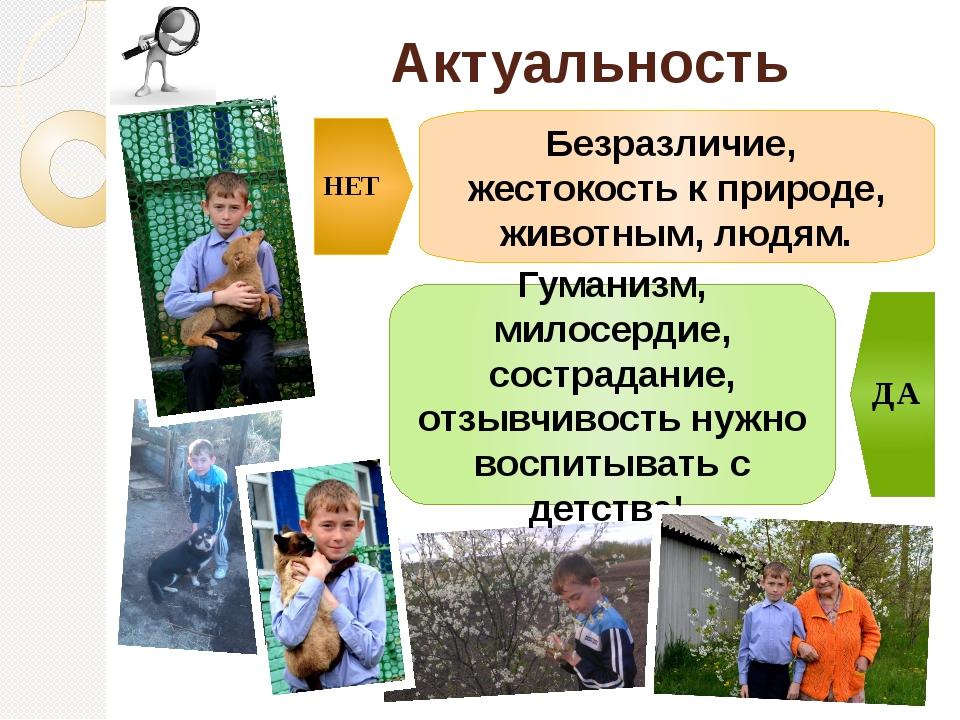 Актуальность проекта Безразличие, жестокость к природе, животным, людям. Гума...