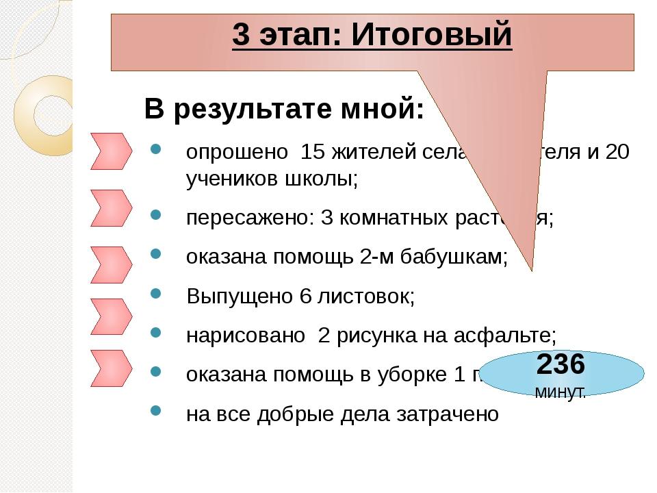 В результате мной: опрошено 15 жителей села, 4 учителя и 20 учеников школы; п...