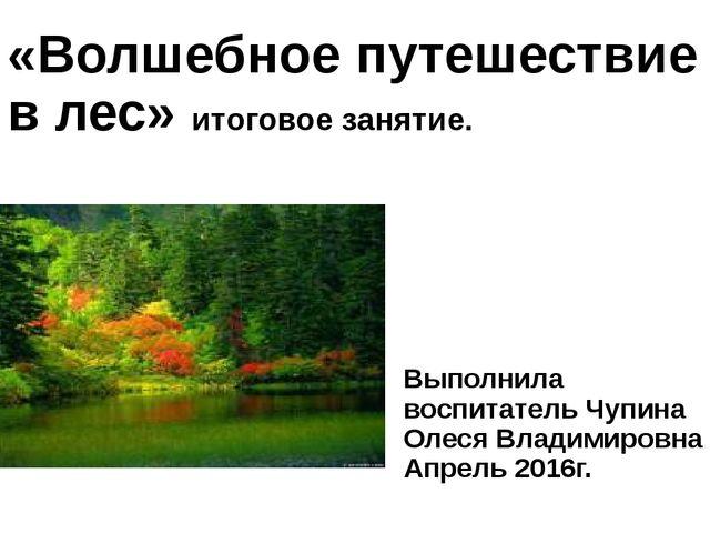 «Волшебное путешествие в лес» итоговое занятие. Выполнила воспитатель Чупина...
