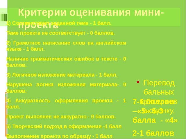 Критерии оценивания мини-проекта Перевод бальных критериев в оценку. 1) Соотв...