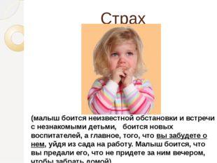 Страх (малыш боится неизвестной обстановки и встречи с незнакомыми детьми,