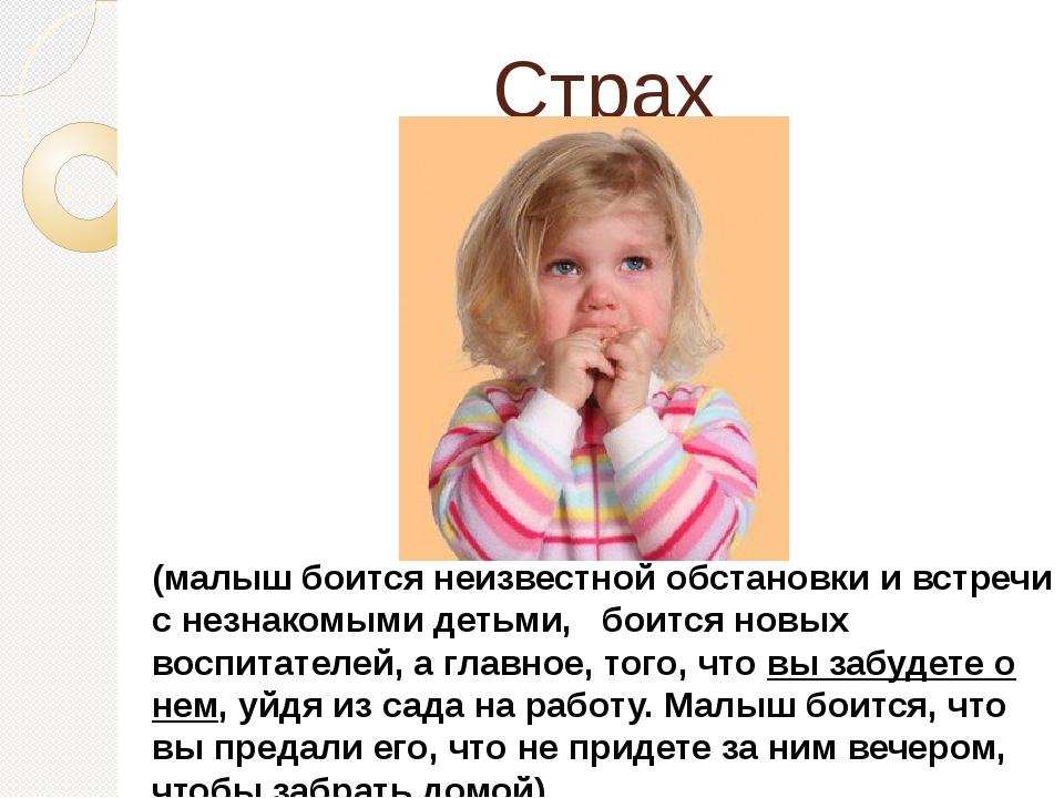 Страх (малыш боится неизвестной обстановки и встречи с незнакомыми детьми,...