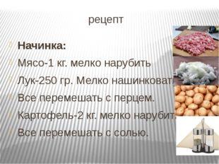 рецепт Начинка: Мясо-1 кг. мелко нарубить Лук-250 гр. Мелко нашинковать Все
