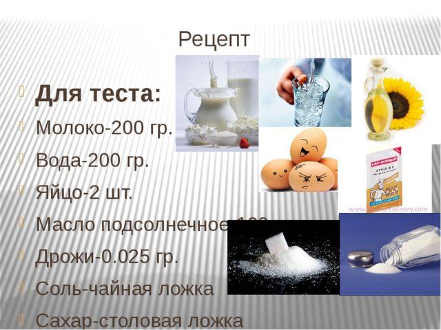 Рецепт Для теста: Молоко-200 гр. Вода-200 гр. Яйцо-2 шт. Масло подсолнечное-...