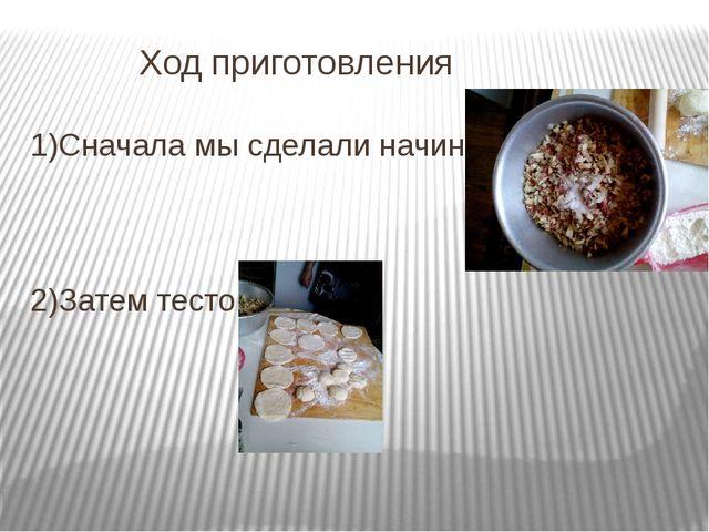 Ход приготовления 1)Сначала мы сделали начинку: 2)Затем тесто: