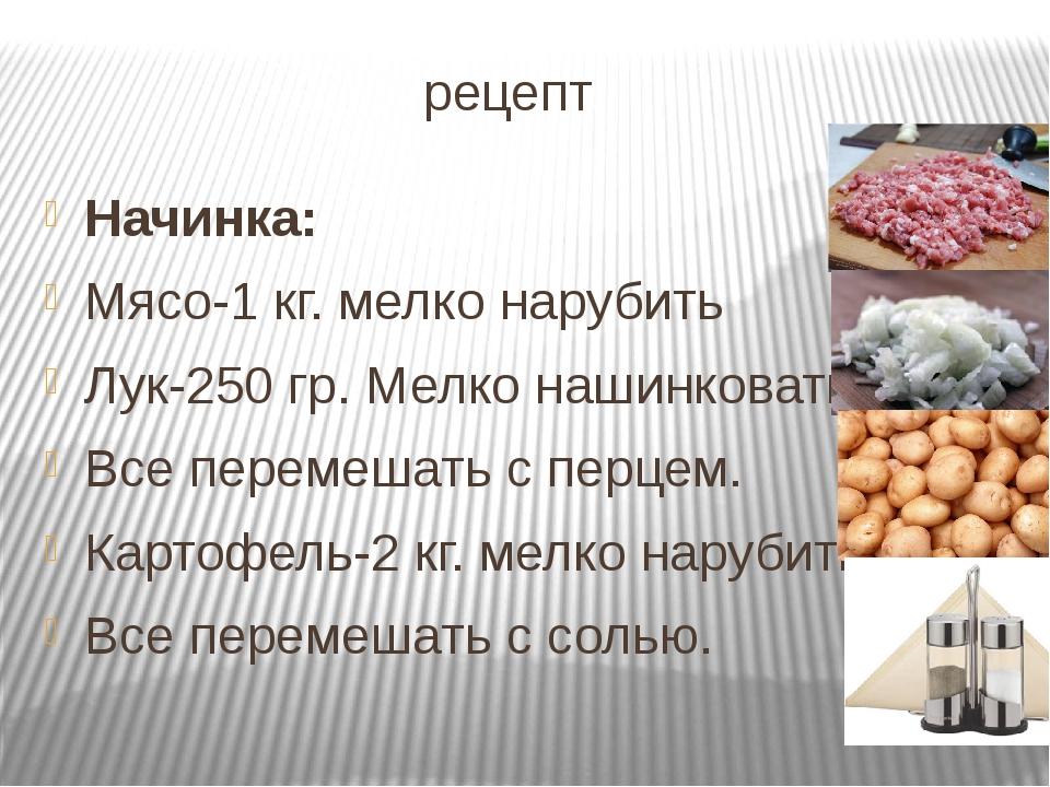 рецепт Начинка: Мясо-1 кг. мелко нарубить Лук-250 гр. Мелко нашинковать Все...