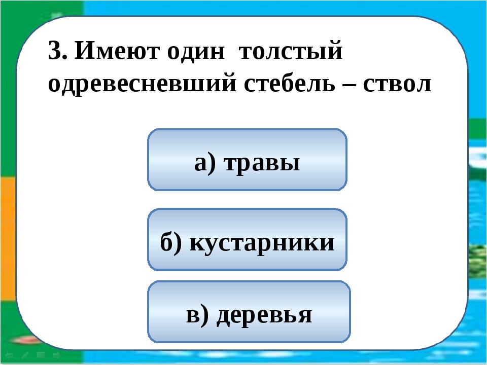 3. Имеют один толстый одревесневший стебель – ствол в) деревья а) травы б) к...