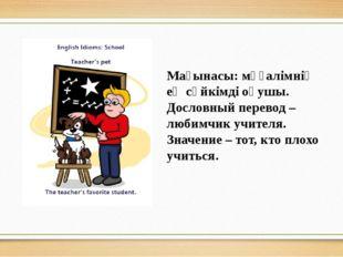 Мағынасы: мұғалімнің ең сүйкімді оқушы. Дословный перевод – любимчик учителя.