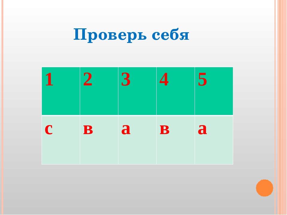 Проверь себя 12 3 4 5 c в а в а