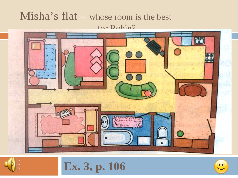 Misha's flat – whose room is the best for Robin? Ex. 3, p. 106