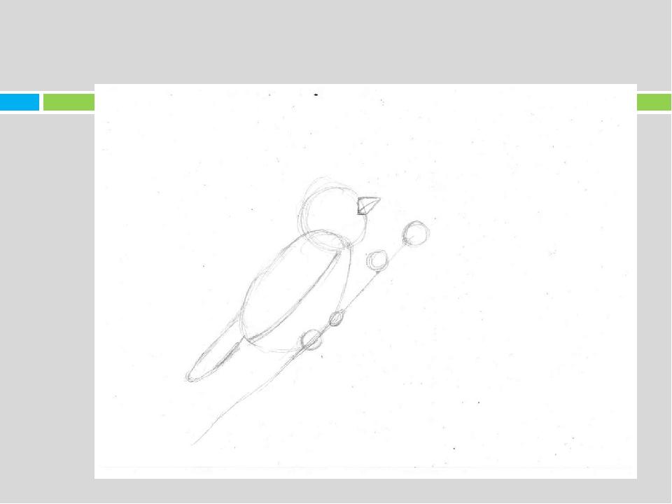 5. Далее придаём вид лапкам, подрисовываем перья у птиц и рисуем листики у бу...