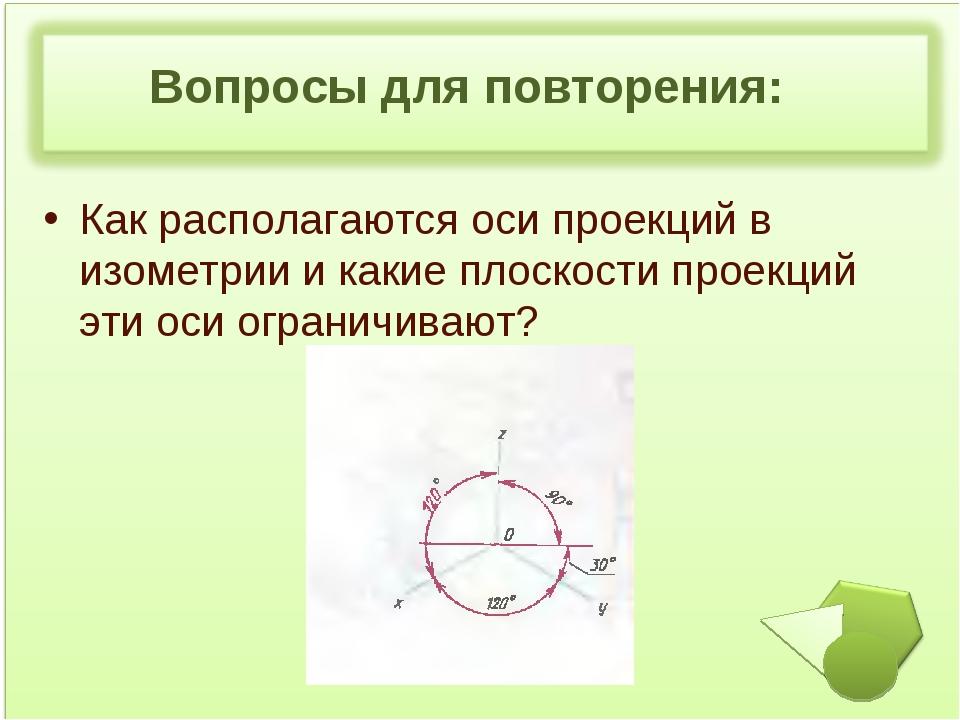 Вопросы для повторения: Как располагаются оси проекций в изометрии и какие п...