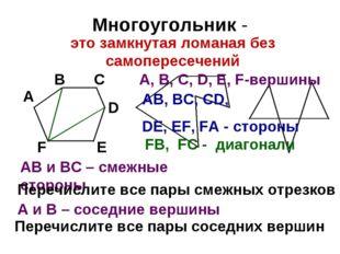 Многоугольник - А В С D Е F АВ и ВС – смежные стороны Перечислите все пары см