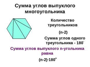 Сумма углов выпуклого многоугольника Количество треугольников (n-2) Сумма угл