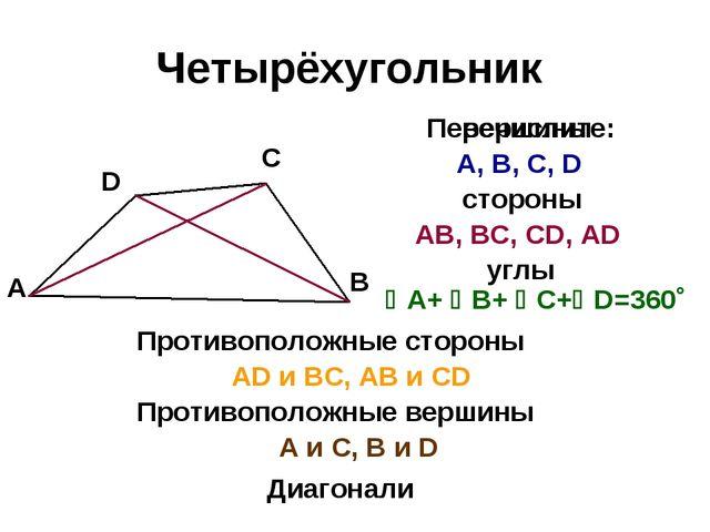 Четырёхугольник D С В А стороны Перечислите: АВ, ВС, СD, АD углы А+ В+ С+...