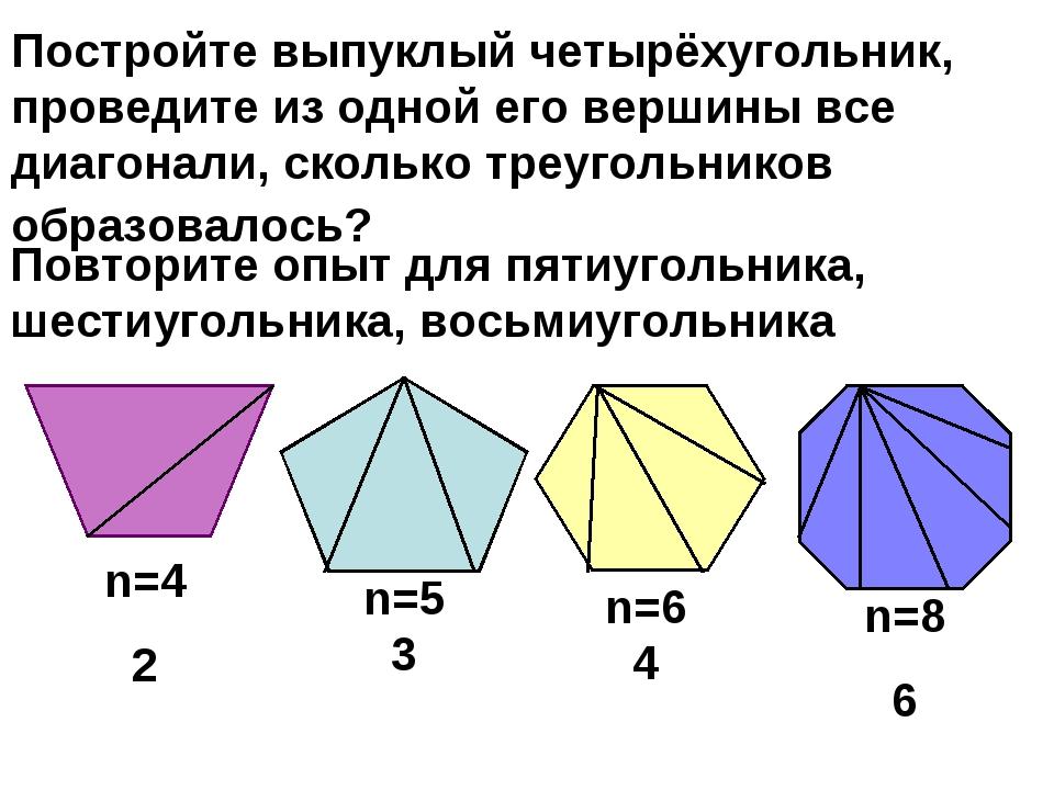 Постройте выпуклый четырёхугольник, проведите из одной его вершины все диагон...