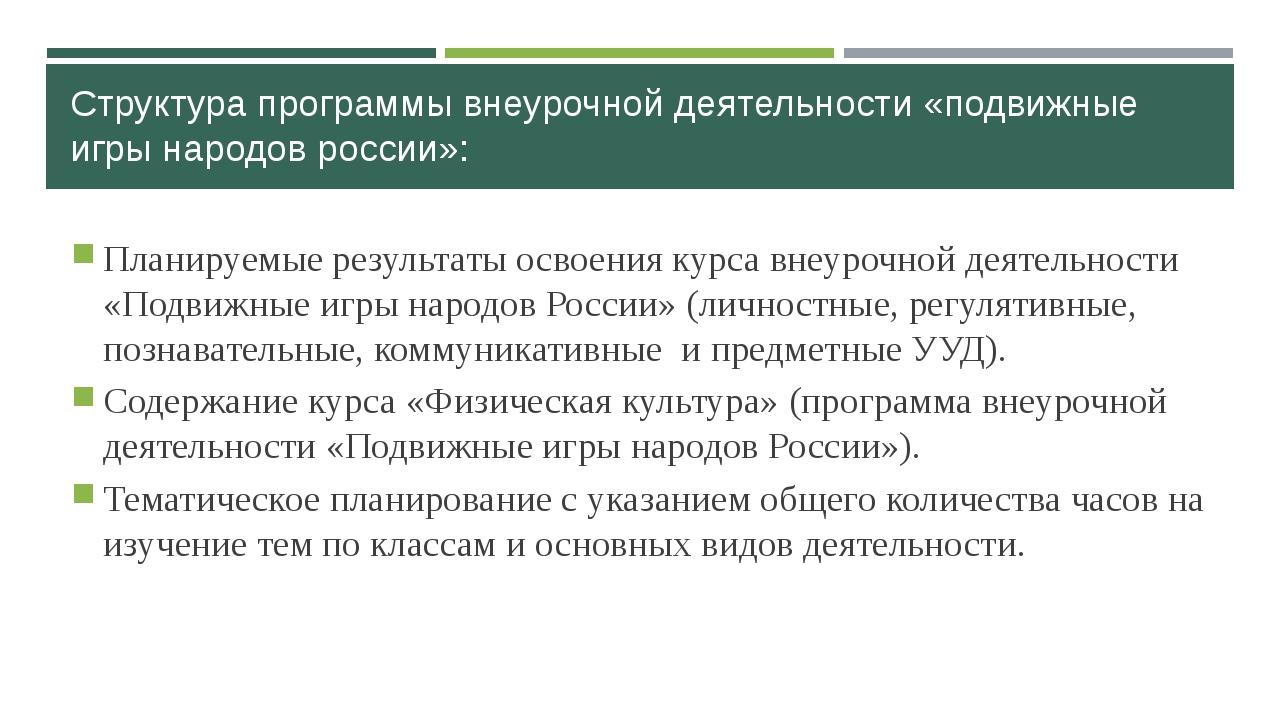 Структура программы внеурочной деятельности «подвижные игры народов россии»:...