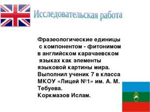 Фразеологические единицы с компонентом - фитонимом в английском карачаевском