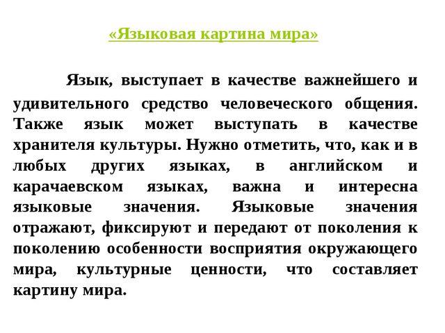 «Языковая картина мира» Язык, выступает в качестве важнейшего и удивительного...