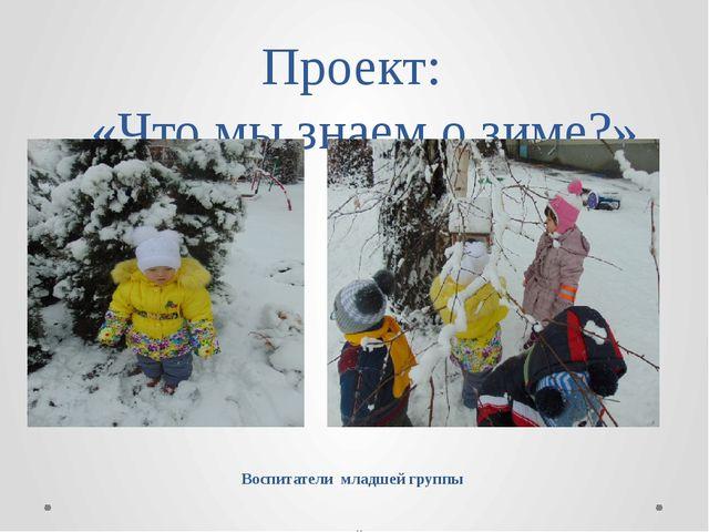 Проект:   «Что мы знаем о зиме?» Воспитатели  младшей группы  МДОУ детский...