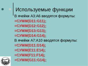 Используемые функции В ячейки А3:А6 вводятся формулы: =СУММ(D11:G11); =СУММ(D