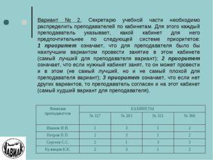 Вариант № 2. Секретарю учебной части необходимо распределить преподавателей п
