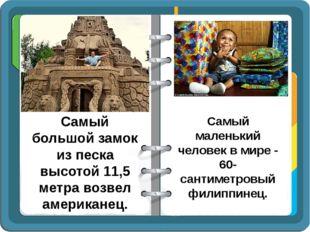 Самый большой замок из песка высотой 11,5 метра возвел американец. Самый мале