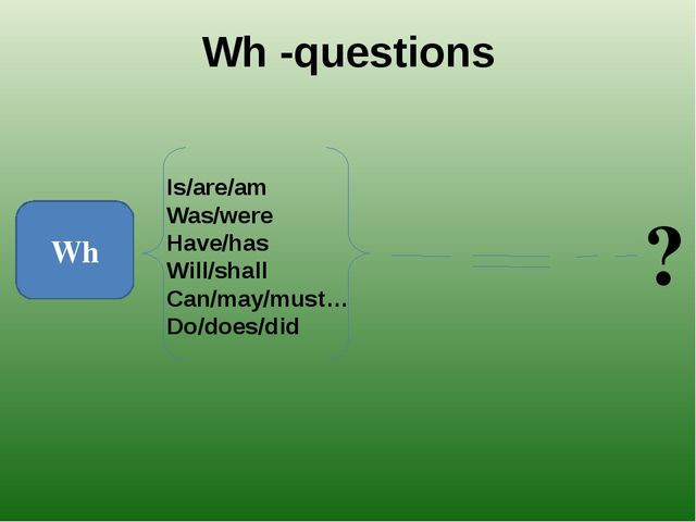 Wh -questions Wh Is/are/am Was/were Have/has Will/shall Can/may/must… Do/does...