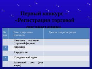 Первый конкурс – «Регистрация торговой организации». №п/п Регистрационныерекв
