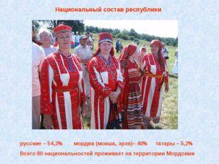 Национальный состав республики русские – 54,3% мордва (мокша, эрзя)– 40% тат