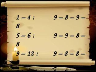 1 – 4 : 9 – 8 – 9 – 8 5 – 6 : 9 – 9 – 8 – 8 9 – 12 : 9 – 8 – 8 – 9 13 – 14 :