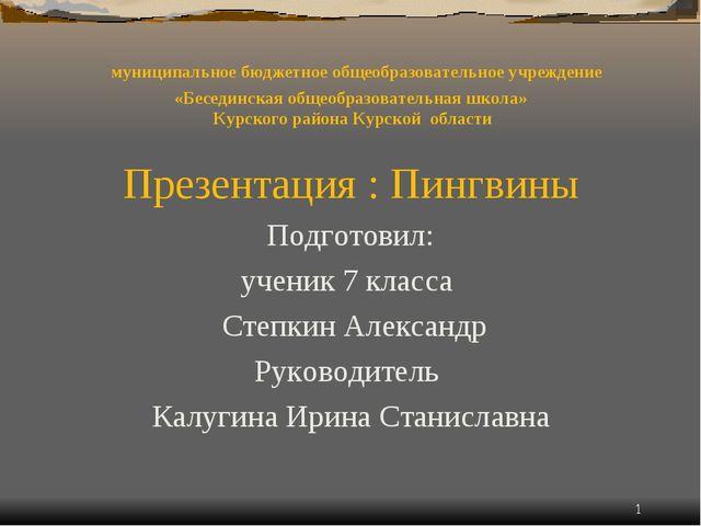 муниципальное бюджетное общеобразовательное учреждение «Бесединская общеобра...