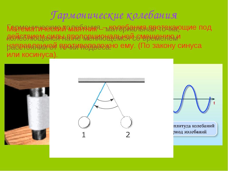 Гармонические колебания Гармонические колебания – колебания протекающие под д...