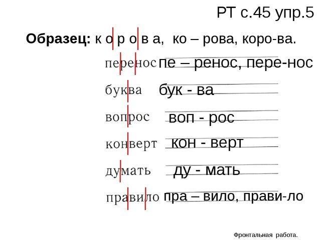 РТ с.45 упр.5 Образец: к о р о в а, ко – рова, коро-ва. стро - ка сло - ва ст...