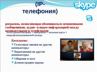 Skype (IP-телефония) Бесплатно: Голосовые звонки на другие компьютеры Видеозв