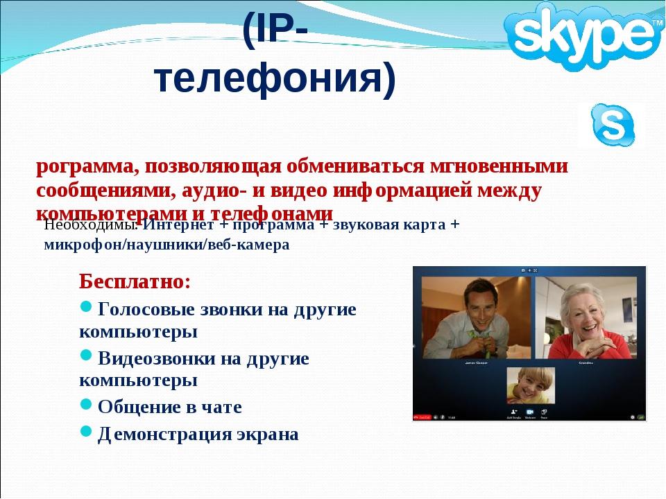 Skype (IP-телефония) Бесплатно: Голосовые звонки на другие компьютеры Видеозв...