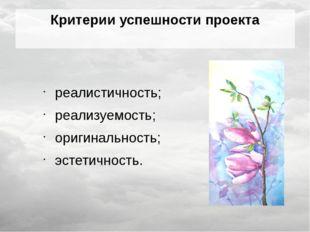 Критерии успешности проекта реалистичность; реализуемость; оригинальность; эс