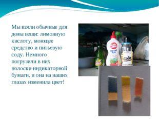 Мы взяли обычные для дома вещи: лимонную кислоту, моющее средство и питьевую