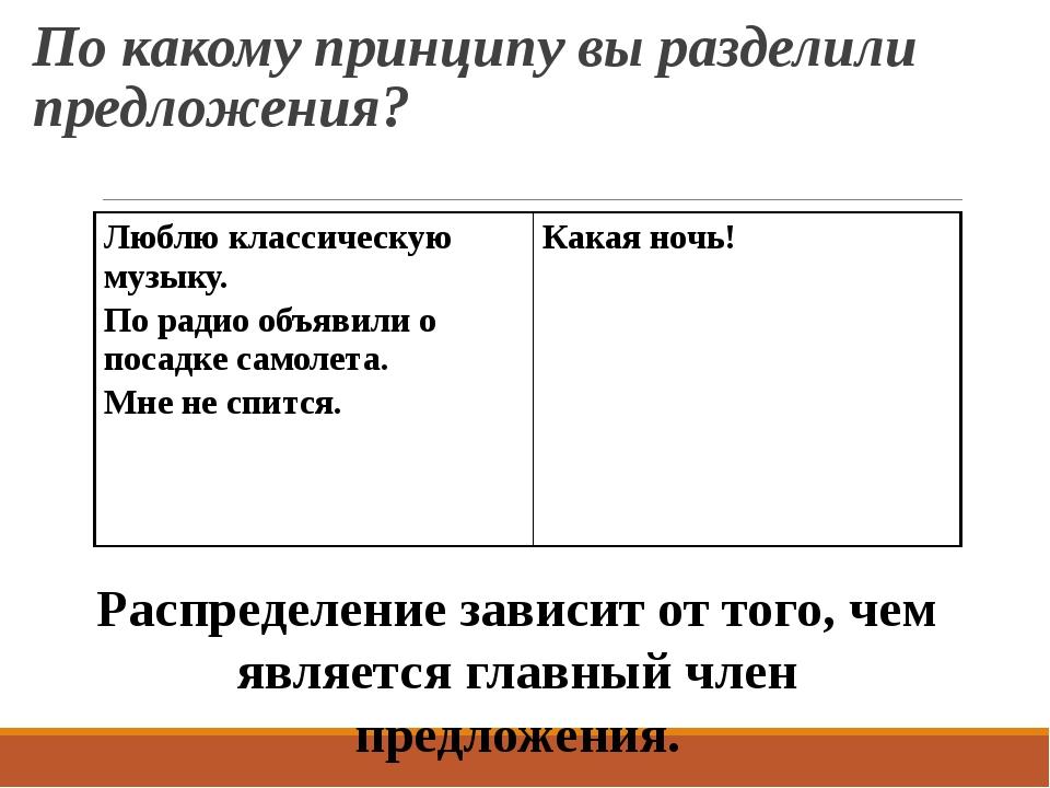 По какому принципу вы разделили предложения? Распределение зависит от того, ч...